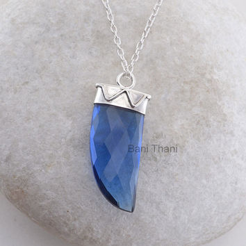 Sapphire Quartz Tusk Pendant 12x30mm, 925 Sterling Silver Pendant Necklace, Handmade Horn Pendant Jewelry #5078