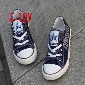 Hot Sale Dallas Cowboys Team USA Canvas Shoes Drop Shipping Print Casual Shoes Graffiti Canvas Shoes Men Boys Fans Gift