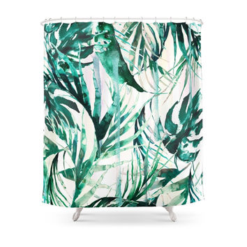 Society6 Green Tropical Paradise Shower Curtains