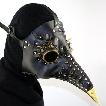 LMFON Unique Design Hand Made Leather Plague Doctor Death Mask Bird Beak Spike Steampunk Steam Punk Gothic Halloween LARP Cosplay