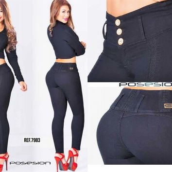 Black TOP and JEAN SET! 100%  Authentic Colombian Push Up Jean 7983 by Posesion