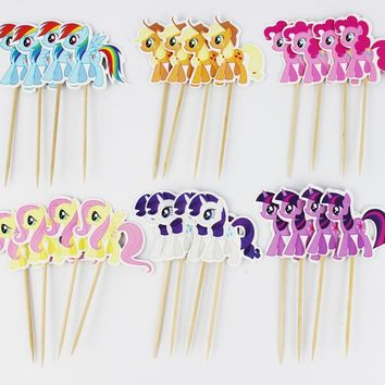 24Pcs/lot My little pony Cupcake Topper Picks Birthday/Wedding Party Decorations Kids Party Favors Party Decoration