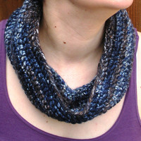 Infinity scarf crochet neckwarmer in navy blue and coffee brown ,ready to ship.