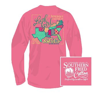 YOUTH Local Girl Long Sleeve Tee in Pink Jam by Southern Fried Cotton