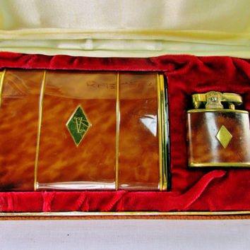 Vintage Cigarette Case Lighter Set Signed Klix Marathon And Ronson Brown Marble Design Monogrammed A  Collectible Gift 1950s  Item 1224