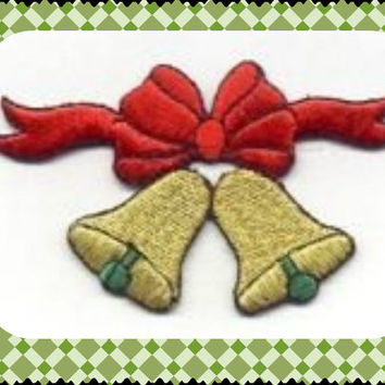 Merry Christmas Gold Bells Christmas Bell for your ugly sweater or Christmas Stocking Iron or Sew On patch by Cedar Creek patch Shop on Etsy