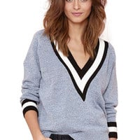 Striped Plunging Neck Grey Sweater