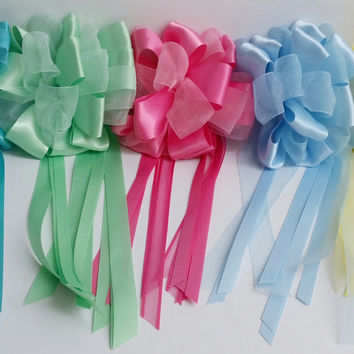 Girls Kids Glory Collection 1314 Tulle Satin Loop Ribbon Hair Bow Hair Clip Accessory