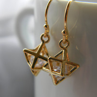 Merkaba star earrings 14 k gold plated or by LindaMunequita
