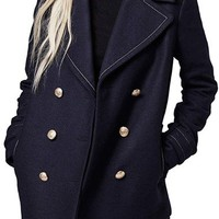 Topshop Contrast Stitch Peacoat | Nordstrom