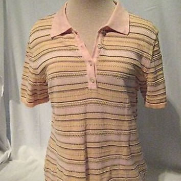 Tommy Bahama Striped Shirt Women's Medium Pullover Top Pink Cotton