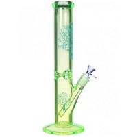"14"" Cylinder Pipe with Ice Catcher - Neon Green - Water Pipes -The Greatest Online Smoke Shop!"