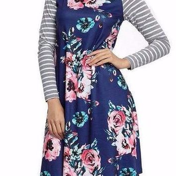 Women's Navy Contrast Striped Sleeve and Floral Print Long Sleeve Shift Dress