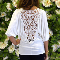 Prescott Ivory Crochet Back Top