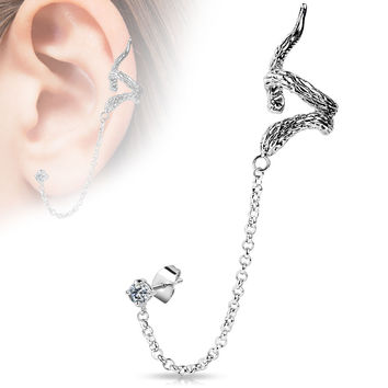 Snake Design ear Cuff with Chain Linked Clear CZ  Stud Ear Rings Clip On Ear Jewelry