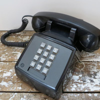Vintage Phone Push Button Phone Black Telephone Vintage Housewares Home Decor