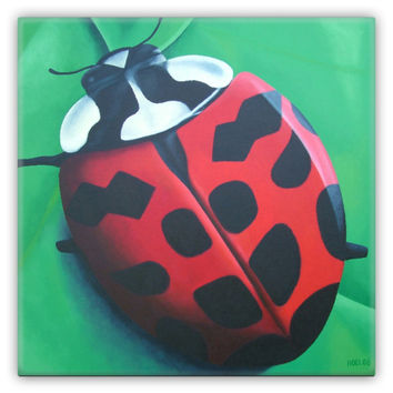 Lunching Lady . . . Bug - Metal Magnet of Lady Bug Acrylic Paint Fine Art