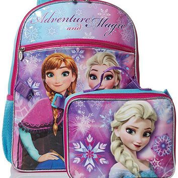 "Disney Frozen Princess Elsa 16"" Backpack with Lunch Bag"