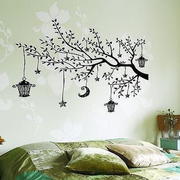 Wall Decal Branch Tree Moon Lantern For Bedroom Vinyl Sticker Unique Gift (z3646)