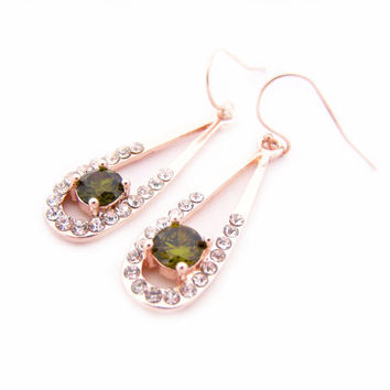 Rose Gold Earrings - Peridot Earrings - Bridal Earrings - CZ Earrings - Rhinestone Teardrop Earrings - 14k Rose Gold Filled - Gift for Her