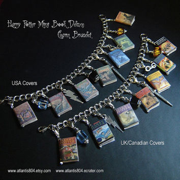 Harry Potter Mini Book Deluxe Charm bracelet  (etsy)