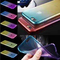 Cute Luxury Double Color Soft Case For Iphone 6 6S 4.7 Silicone Clear Case Super Flexible Slim Transparent Cover Back Protective