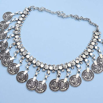 Vintage Turkish Coin Necklace | Kuchi Coin Necklace | Boho Necklace | Statement Necklace | Silver Coin Necklace | Gypsy Jewelry |