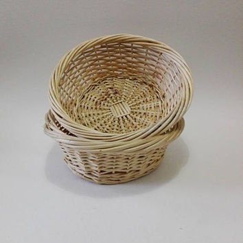 French vintage, set of two, Wicker, basket, wicker home decor, wicker basket, vintage wicker, kitchen storage, food storage, vintage storage