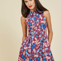 Atlanta Adventure A-Line Dress in Mulberry Floral | Mod Retro Vintage Dresses | ModCloth.com