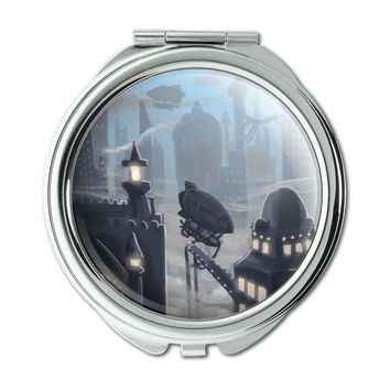 Steampunk City Zeppelin Compact Purse Mirror