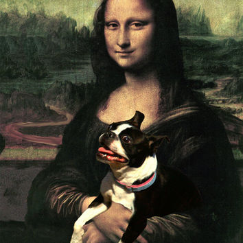 Boston Terrier with Mona Lisa Print