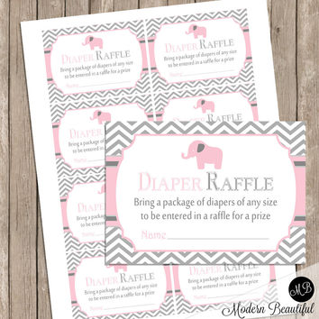 Diaper Raffle Card - Elephant  Pink and Gray baby shower,  pink and gray, Diaper Raffle Ticket Request card INSTANT DOWNLOAD  pe1