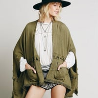 Fringed Pocket Long Sleeve Coat