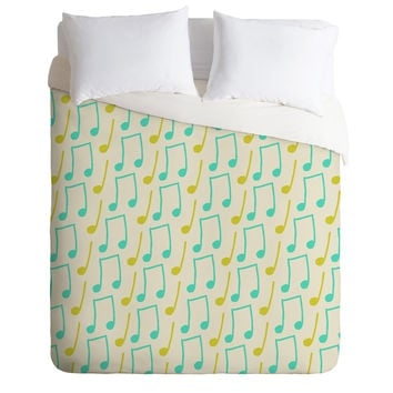 Allyson Johnson Bright Musical Notes Duvet Cover