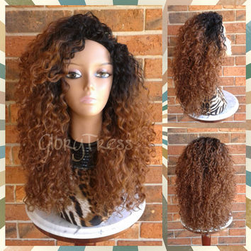 ON SALE // Big Kinky Curly Half Wig, Ombre Wig, Beach Curly Afro Wig, African American Wig // AMAZING