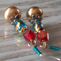 Paint Splatter Turquoise Red & Gold Earrings by VenganzyJewelry