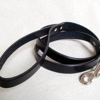 "Leather dog leash, 5/8"" wide, black, brown or tan, 42"" long"