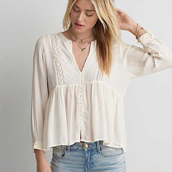 AEO Embroidered Button Top , Cream