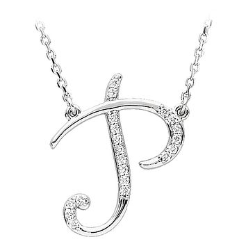 1/10 Ctw Diamond 14k White Gold Medium Script Initial P Necklace, 17in