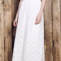 White Floral Lace Maxi Skirt