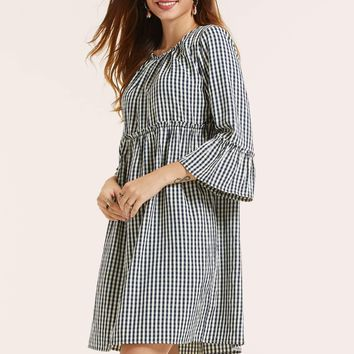 SBetro Frill Trim Flounce Sleeve Gingham Smock Dress