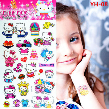 Child lovely waterproof tattoos pink Hello Kitty cat off shiny metal temporary tattoos for children's toys