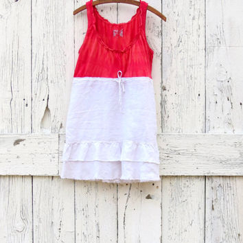 Boho Tie Dye Babydoll Tank Top , Eco red and cream indie fashion , L upcycled bohemian summer sleeveless shirt , refashioned by wearlovenow