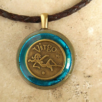 Virgo Necklace: Blue - Mens Necklace - Mens Jewelry - Astrology - Boyfriend Gift - Astrological Sign - Zodiac - Birthday Gift - Leather Cord