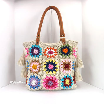 Crochet granny squares handbag with tassels and genuine leather handles,  shopper bag, crochet tote, fashion spring summer handbag 2014
