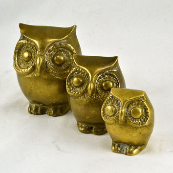 Brass Owl Family - Vintage Mod Big Eyed Owl Figurines -  Dad Mom Baby