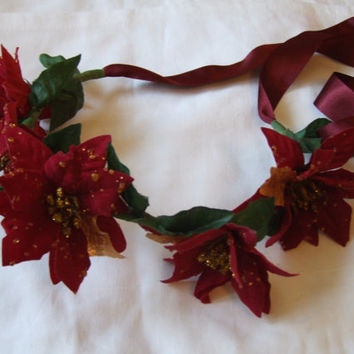 Rich Red and Gold Poinsettia Flower Crown - Natural Kei Mori Dolly Fairy Faery Elf Fantasy Bridal Bridesmaid Floral Fantasy Fancy Dress