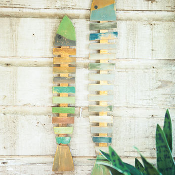 Set of 2 Recycled Wooden Fish Wall Hangings- Painted One Each