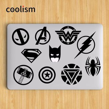 Batman Dark Knight gift Christmas Super Heros Logo Set Batman Laptop Sticker for Apple MacBook Air Decal 13 Pro Retina 11 12 15 inch Mac Mi Notebook Skin Sticker AT_71_6