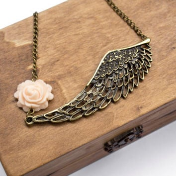 Angel Wing Necklace, Peach Rose Flower. Statement Necklace. Antique Brass. Whimsical Jewelry
